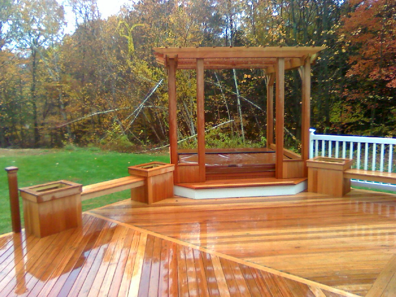 above ground pool with deck and hot tub. Mahogany Floor With Pergola And Hot Tub: Vinyl Rails \u0026 Above Ground Pool;  Custom Above Ground Pool Deck Hot Tub